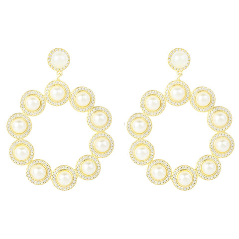 Latelita London The Gatsby Pearl Earrings Gold