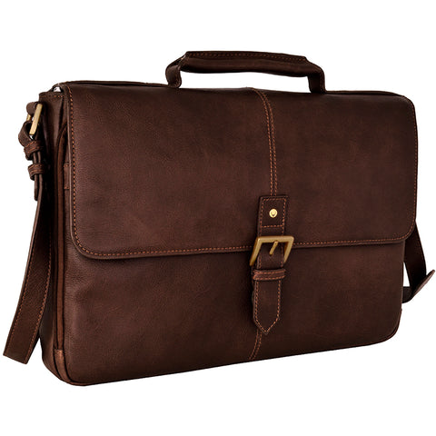 "Hidesign Charles Leather 15"" Laptop Compatible Briefcase Work Bag Brown"