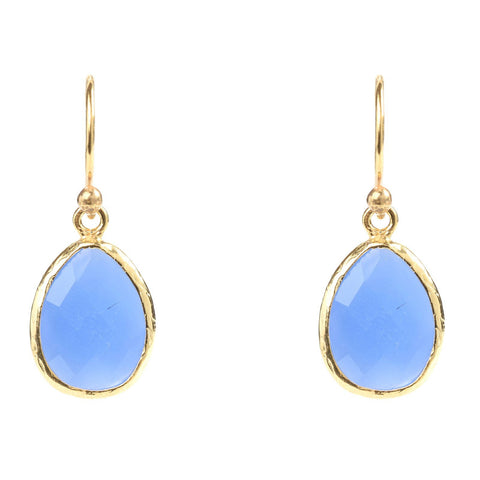 Latelita London Gold Petite Drop Earring Dark Blue Chalcedony