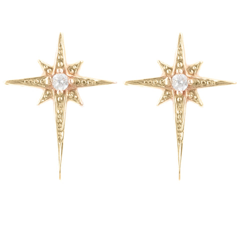LAtelita London Mini Star Burst Small Stud Earrings Rosegold