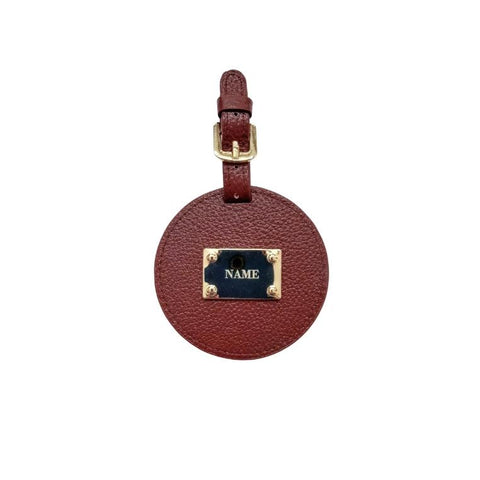 Engraved Personalised Leather Luggage Tag Burgundy Red
