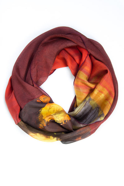 Ellen Brook Mixed Silk Infinity Scarf Ethereal Burgundy, Chocolate and Sunshine