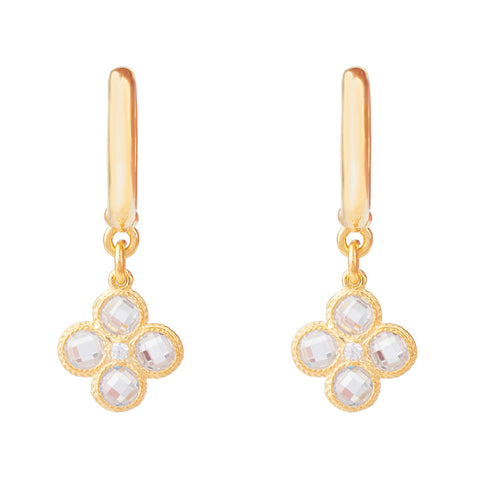 Latelita London Flower Clover Small Drop Earrings Gold