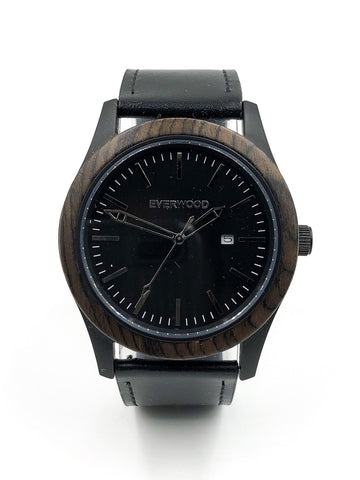 Everwood Inverness  Walnut Black Leather Watch