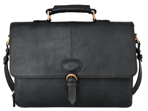Hidesign Parker Leather Medium Briefcase Black