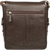 Hidesign William Vertical Leather Messenger Bag Brown