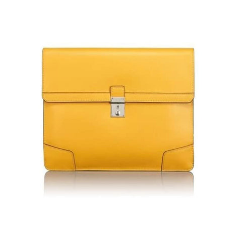 TUMI Drexel Leather Envelope Briefcase Yellow