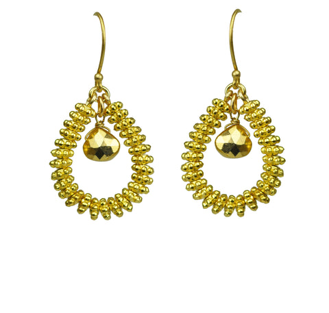 Gena Myint Gold Pyrite Drop Hoop Earrings