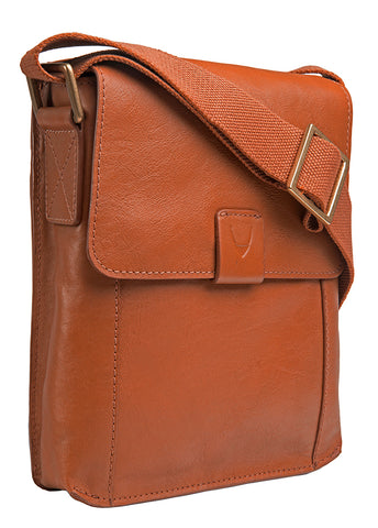 Hidesign Aiden Small Leather Messenger Cross Body Bag Tan