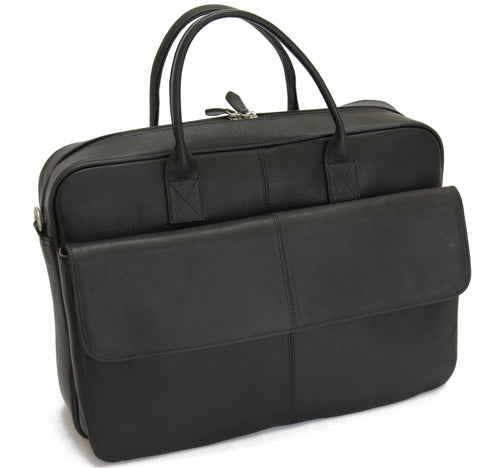 MJ Room BRUNO Leather Black  Briefcase Satchel