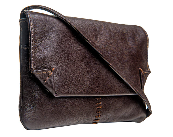 Hidesign Stitch Leather Handcrafted Cross Body Bag Brown