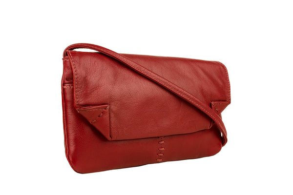 Hidesign Stitch Leather Handcrafted Cross Body Bag Red