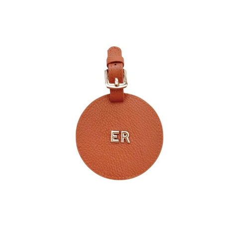 3D Monogram Personalised Leather Luggage Tag Cocoa Brown