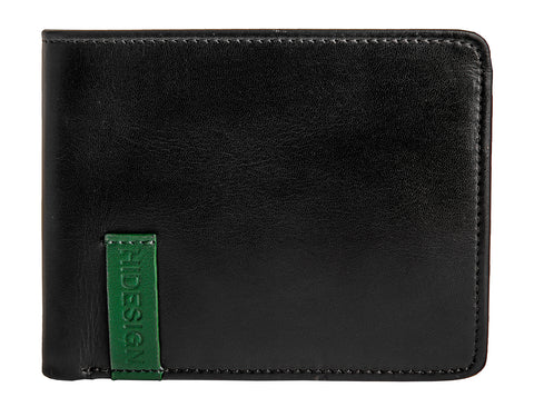 Hidesign Dylan 05 Leather Multi-Compartment Trifold Wallet Black