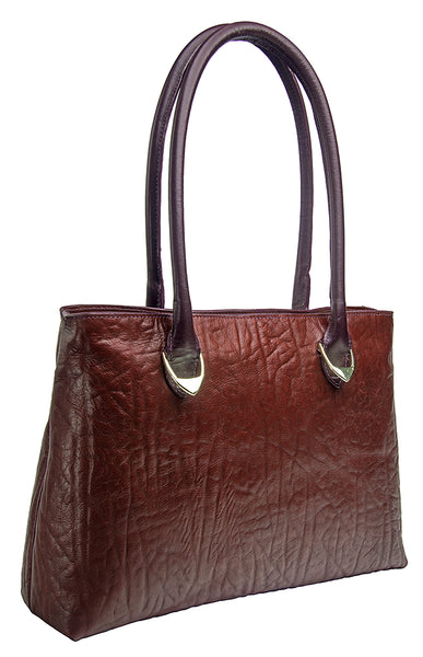 Hidesign Yangtze Embossed Leather Medium Shoulder Bag Brown