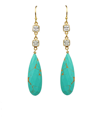 GENA MYINT gold White Topaz With Turquoise blue Drop Earrings
