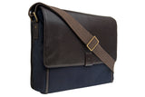 Hidesign Aiden Canvas Leather Laptop Messenger Brown