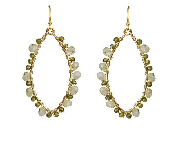Gena Myint Gold Green Tourmaline And Jade Wrapped Frame Earrings