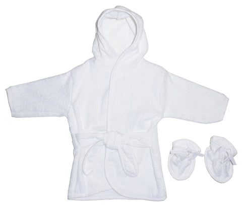 Bambini White Infant Terry Robe & Booties