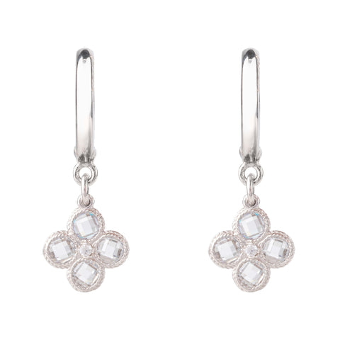 Latelita London Flower Clover Small Drop Earrings Silver