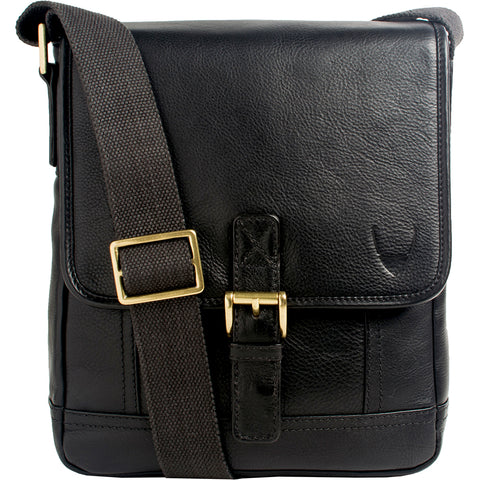 Hidesign Hunter Small Leather Crossbody Messenger Bag Black