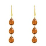 Latelita London Sorrento Triple Drop Earrings Gold Citrine