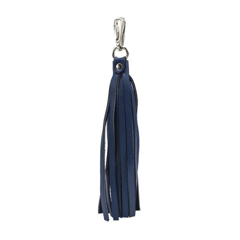 ClaudiaG Fringe Power Leather Bag Charm Keyring Sapphire Silver