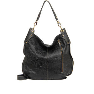 MANZONI Leather Hobo Bag A133 Black with FREE WALLET