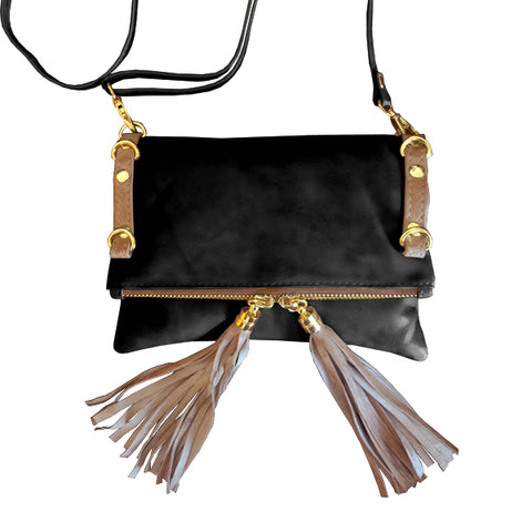CADELLE LEATHER AMALFI MINI SHOULDER BAG BLACK/CAMEL BROWN