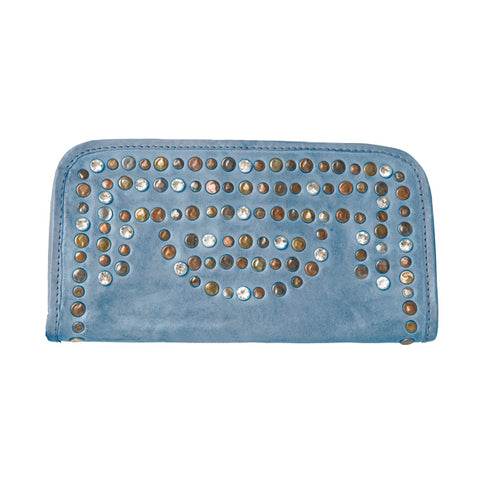CADELLE LEATHER ARABIAN STUD ZIP WALLET DENIM BLUE