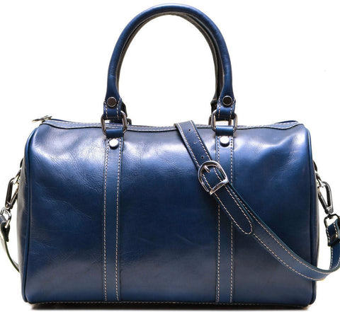 FLOTO BOSTON LEATHER CROSSBODY/SATCHEL BAG BLUE