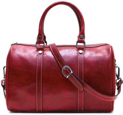 FLOTO BOSTON LEATHER SATCHEL/CROSSBODY BAG TUSCAN RED