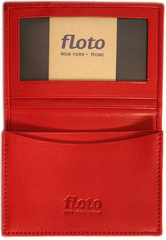 FLOTO Firenze Leather Business Card Case Red