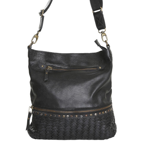 CADELLE LEATHER Barcelona Woven Satchel Bag Black
