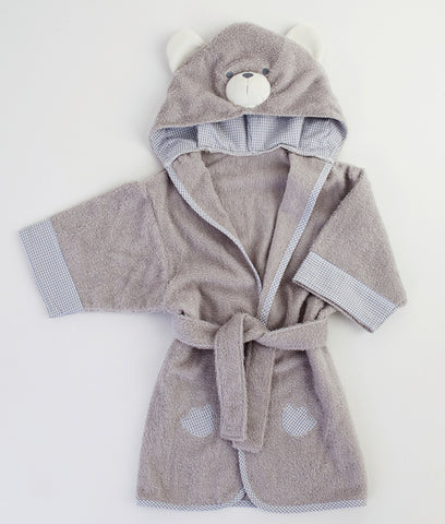 GINGERLILLY Baby Bathrobe Bear Grey