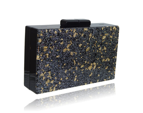 Black Glitter Acrylic Box Clutch