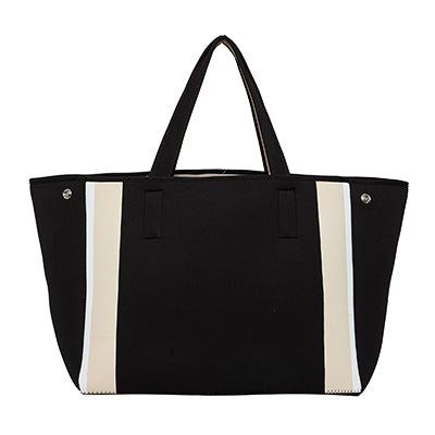 URBAN ORIGINALS BYRON NEOPRENE TOTE BAG BLACK/NUDE BEIGE