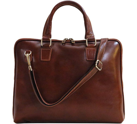 FLOTO CORTONA LEATHER SLIM BRIEFCASE VECCHIO BROWN