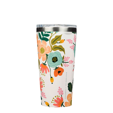 Corkcicle Rifle Paper Tumbler Insulated Stainless Steel Coffee Cup Cream Lively Floral