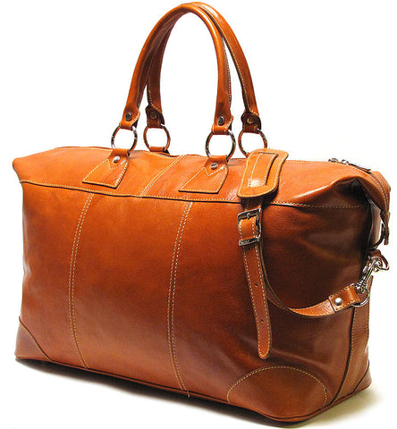 FLOTO Capri Leather Duffle Olive Honey Brown