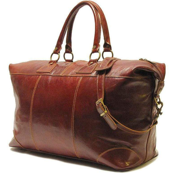 Floto Capri Italian Leather Duffle Travel Bag Suitcase brown