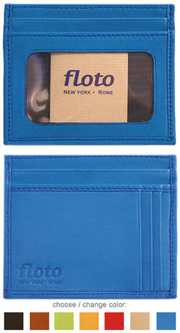 FLOTO Firenze Leather Card Case Blue