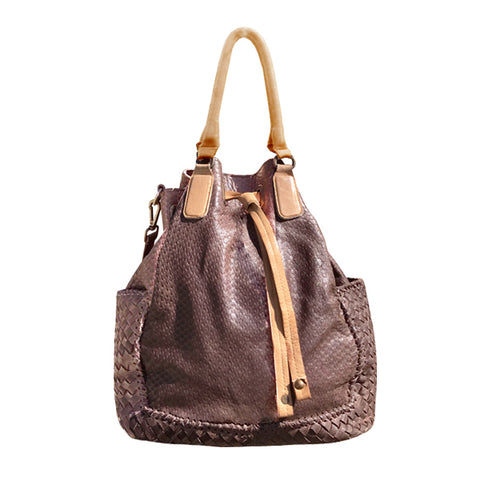CADELLE LEATHER CARLA TOTE BAG CHOCOLATE BROWN/CAMEL BROWN