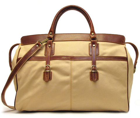 FLOTO Casiana Canvas & Leather Travel Tote Vecchio Brown