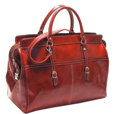 Floto Casiana Italian Leather Duffle Travel Bag Suitcase red