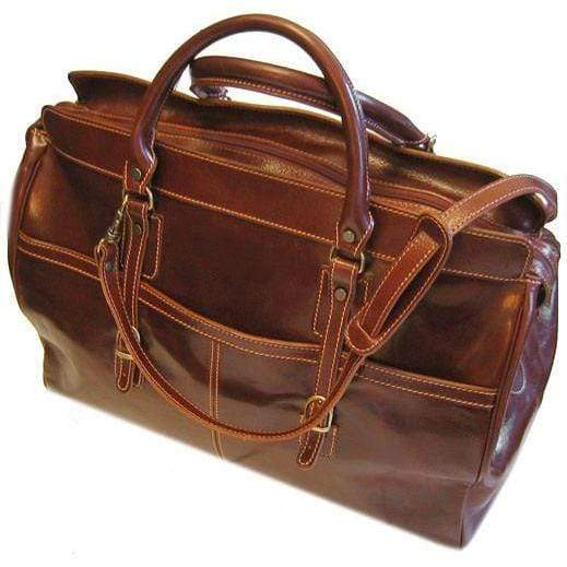 Floto Casiana Italian Leather Duffle Travel Bag Suitcase brown