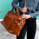 Chiara Leather Travel Bag olive brown