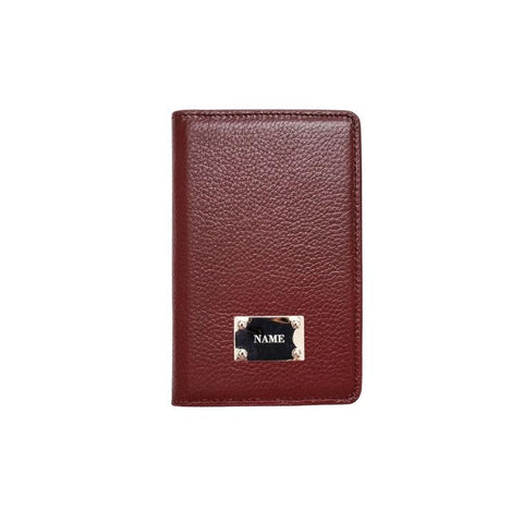 Engraved Personalised Leather Passport Wallet Burgundy Red