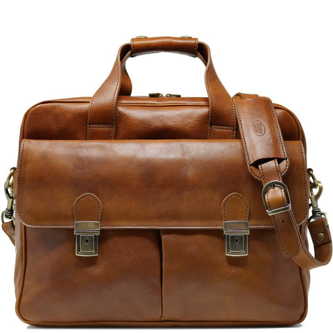 Computer Bag Floto Roma Leather Briefcase Messenger tobacco brown