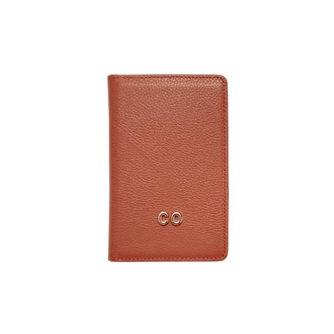 3D Monogram Personalised Leather Passport Wallet Cocoa Brown